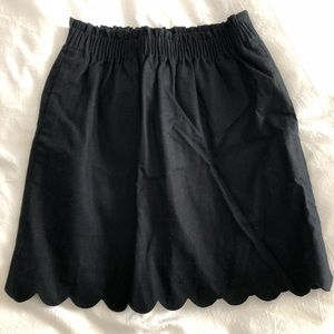 Black linen mini skirt
